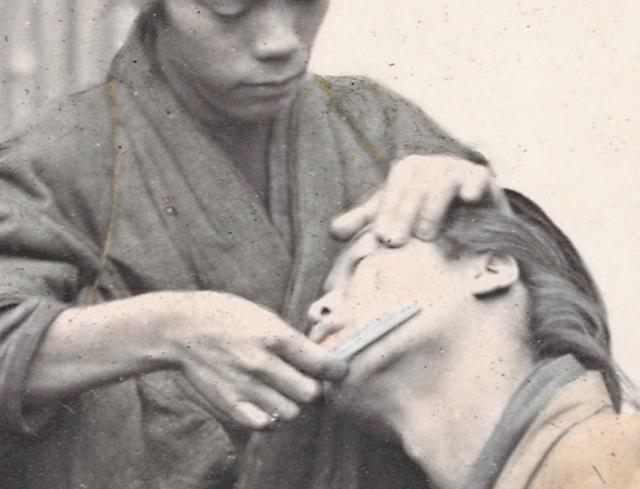 1863-1868 Japanische Barbiere, Felix Beato.png