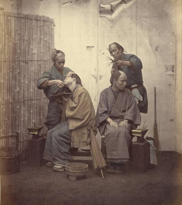 1868 Japanische Barbiere, Photo von Felix Beato