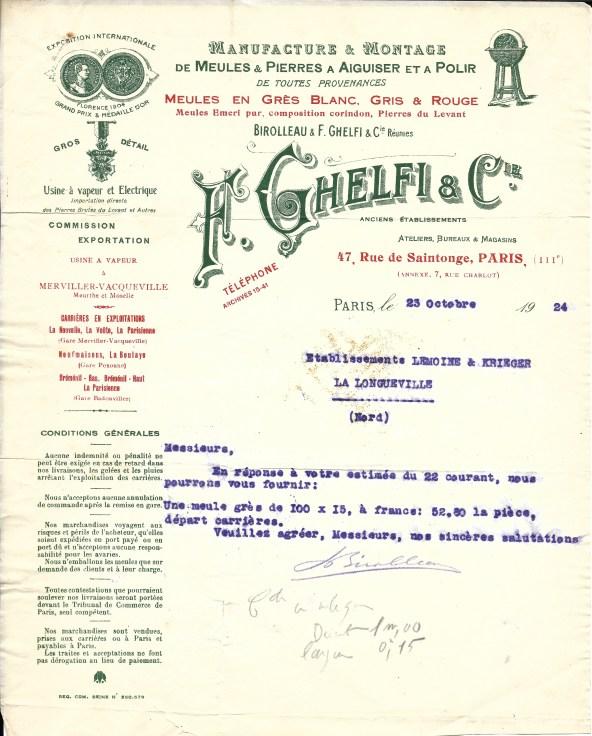 1924:10:23 F. Ghelfi & Cie 1