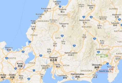 Gasshō tera to map 1a