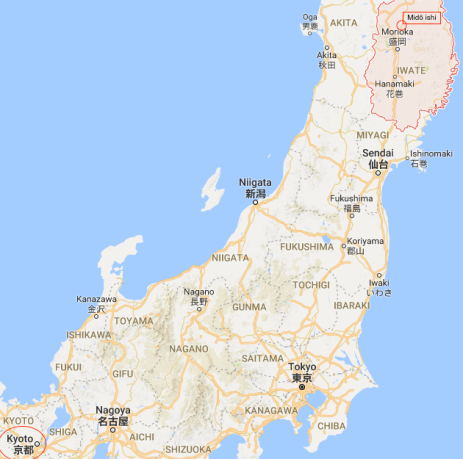 Midō ishi, Iwate map.png