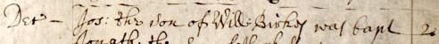 1666 Dec 02 Birkes Joseph son of William bap Ecclesfield 1b