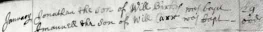 1670 Jan 29 Birkes Jonathan son of William bap 1b