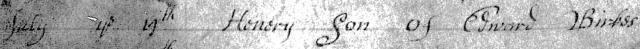 1698 PR Birkes Henery son of Edward bap 1b