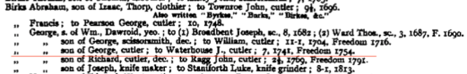 1741 George son of George cutler to Waterhouse J. cutler, 7, 1741 F 1754