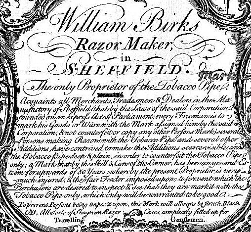 1750 (c.) Birks William, Sheffield 1750 (c.) 1a1