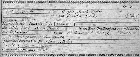 1754 Mar 31 Martha Birks widow Joshua Booth cutler marr 1a kopie