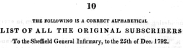 1792, uit: 1824, The origin of the Sheffield General Infirmary, (compiled from original documents,) 1a1