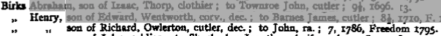 1795f henry birks, son of richard, owlerton, cutler, dec