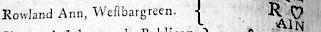 Rowland Ann, Westbargreen 1b