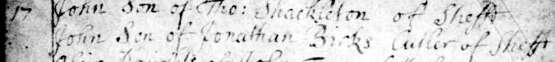 1705 May 17 John (=Johannes) son of Jonathan Birks Razor Maker 1b