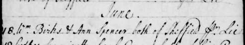 1746 Jun 18 William Birks & Ann Spencer 1b